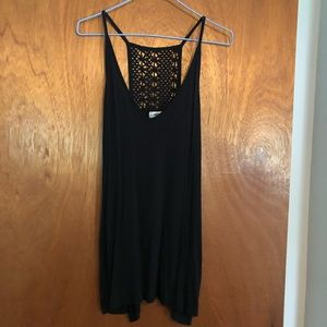 Black tank with crocheted back